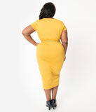 Unique Vintage Plus Size 1950s Mustard Sweetheart Dianne Wiggle Dress