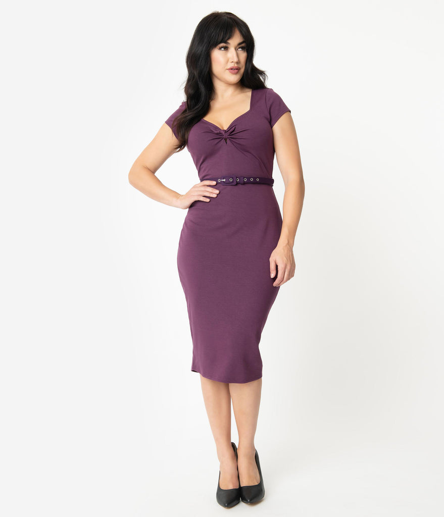 Unique Vintage 1950s Purple Sweetheart Dianne Wiggle Dress