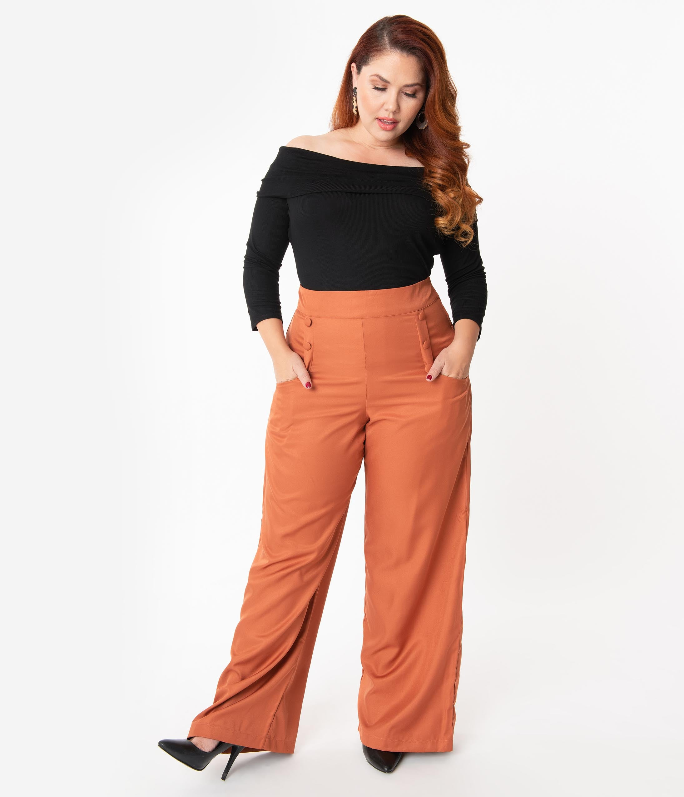 1940s Plus Size Dresses | Swing Dress, Tea Dress Unique Vintage Plus Size 1940S Rust High Waist Ginger Pants $64.00 AT vintagedancer.com