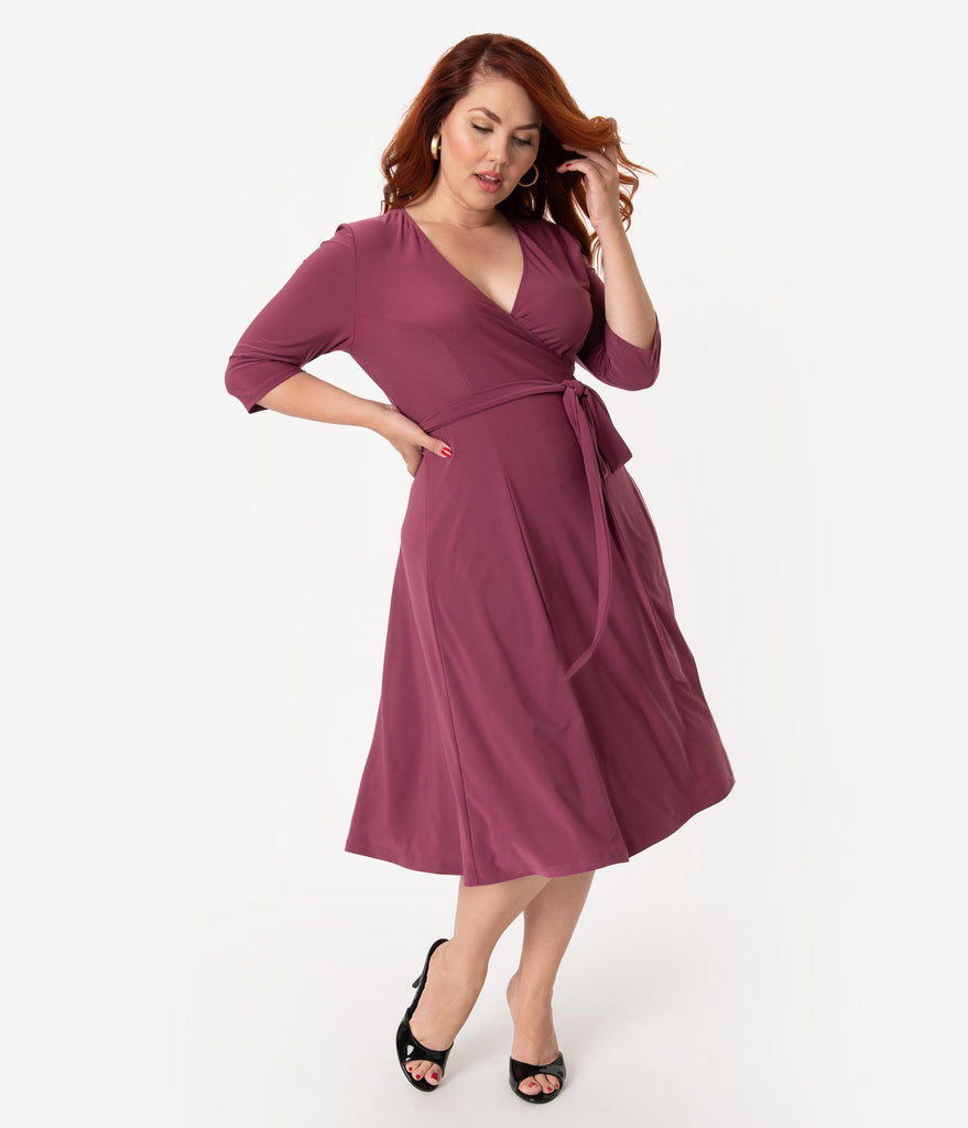 Retro Style Plus Size Berry Purple Sleeved Essential Wrap Dress