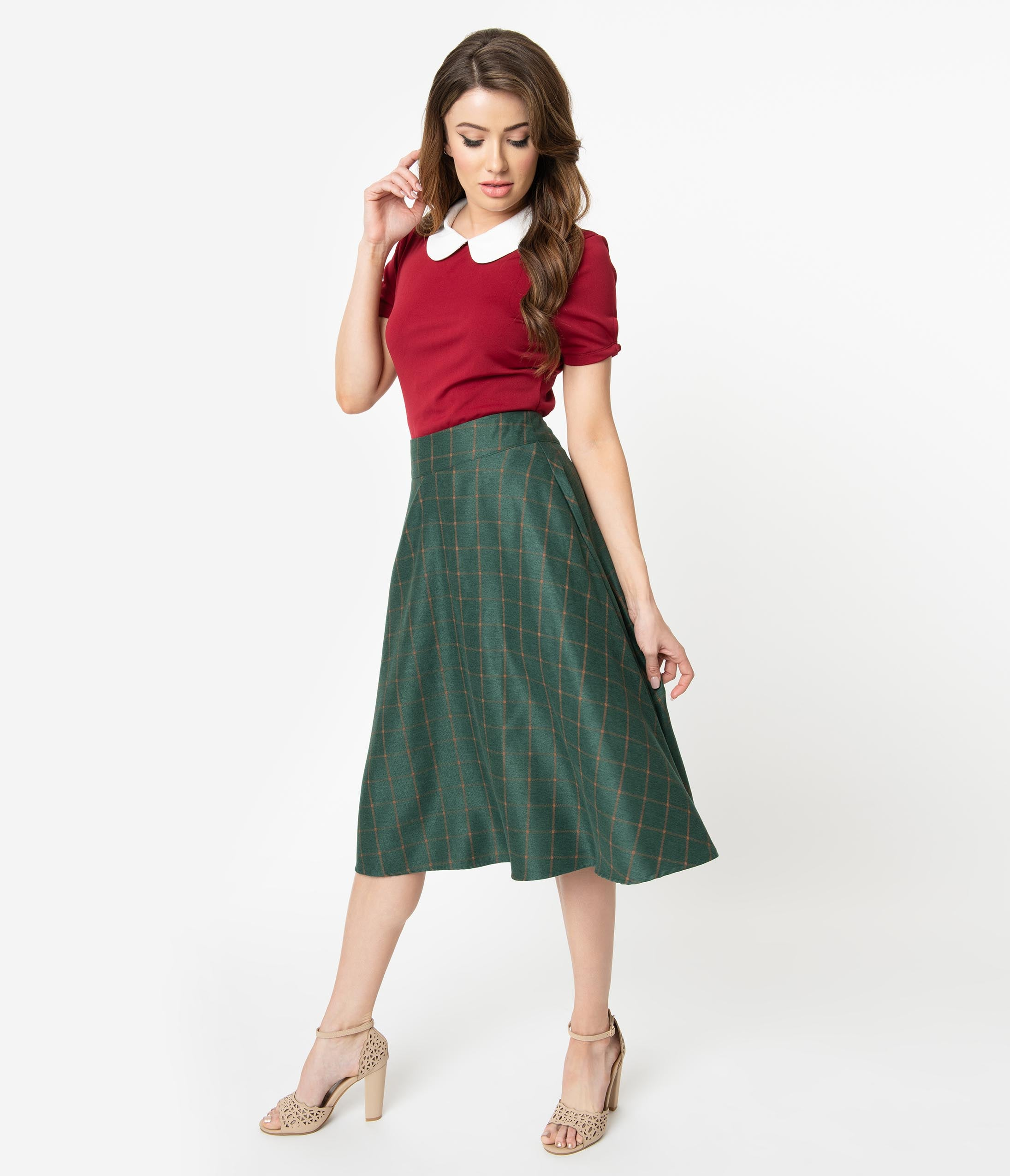 Retro Skirts: Vintage, Pencil, Circle, & Plus Sizes Unique Vintage Retro Style Green  Orange Windowpane High Waist Vivien Swing Skirt $58.00 AT vintagedancer.com