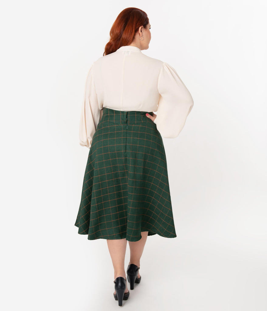 Unique Vintage Plus Size Retro Style Green & Orange Windowpane High Waist Vivien Swing Skirt