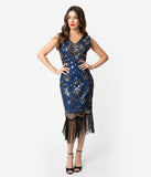 Unique Vintage Deco Style Blue & Gold Sequin Laurentine Fringe Flapper Dress