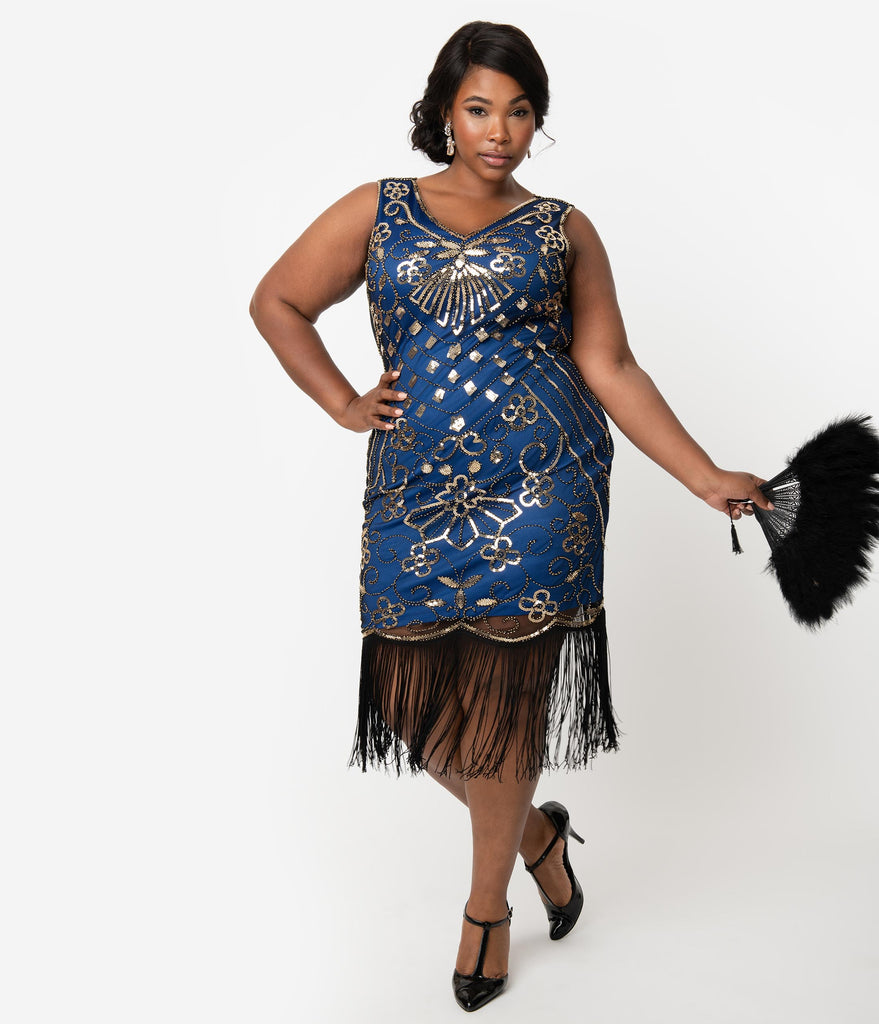 Unique Vintage Plus Size Deco Style Blue & Gold Sequin Laurentine Fringe Flapper Dress