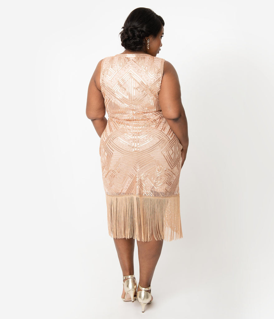 Unique Vintage Plus Size 1920s Style Blush Pink Sequin Sleeveless Fringe Calais Flapper Dress