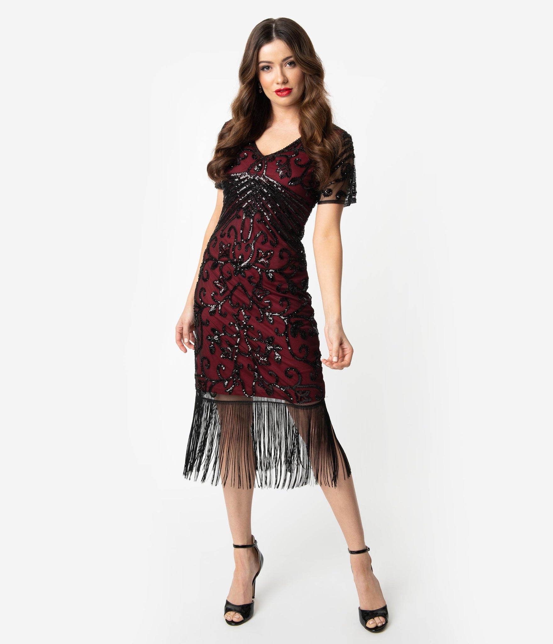 Unique Vintage Burgundy Red & Black Beaded Sleeved Troyes Cocktail Flapper Dress