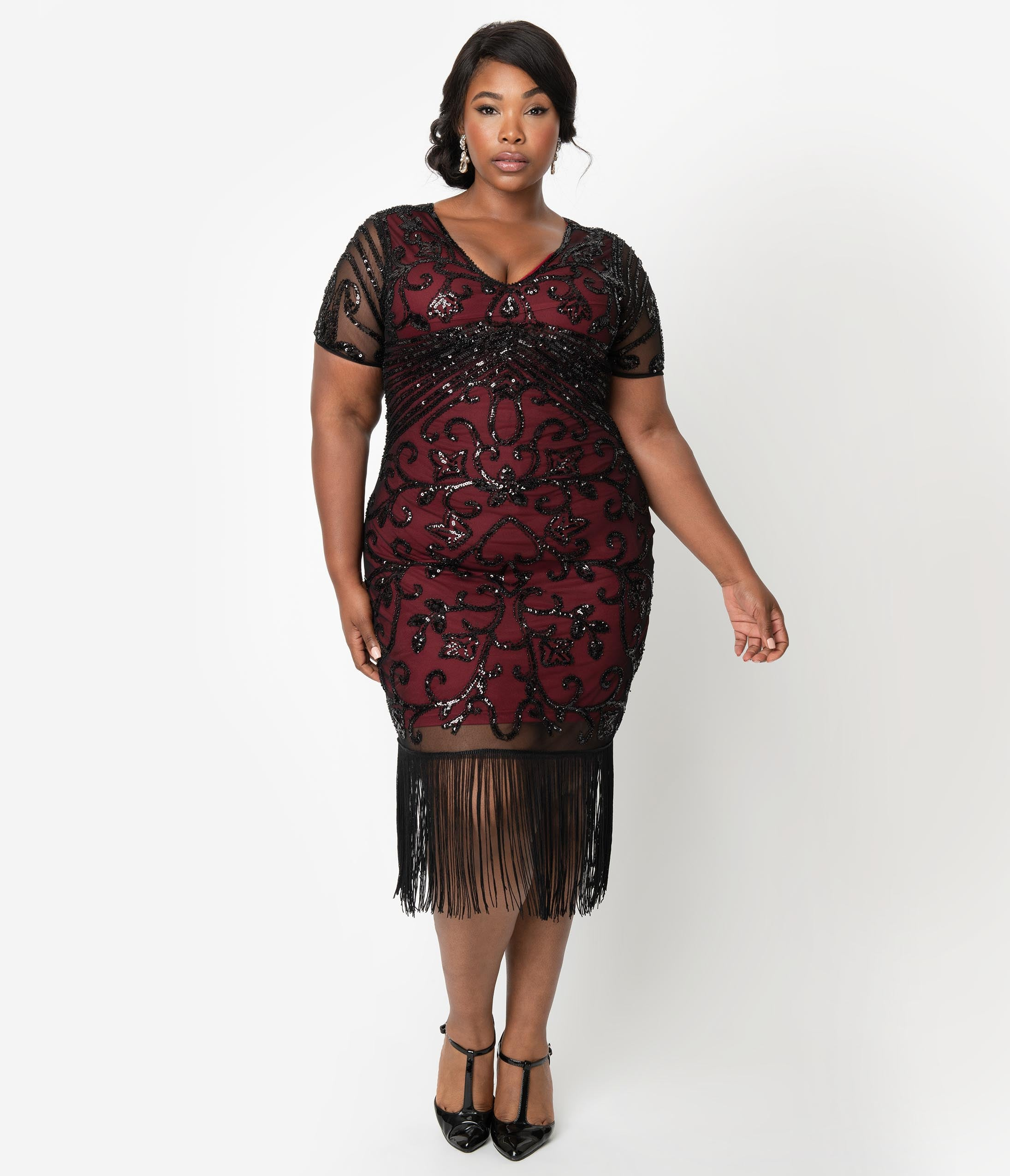 1920s Plus Size Flapper Dresses, Gatsby Dresses, Flapper Costumes Unique Vintage Plus Size Burgundy Red  Black Beaded Sleeved Troyes Cocktail Flapper Dress $98.00 AT vintagedancer.com