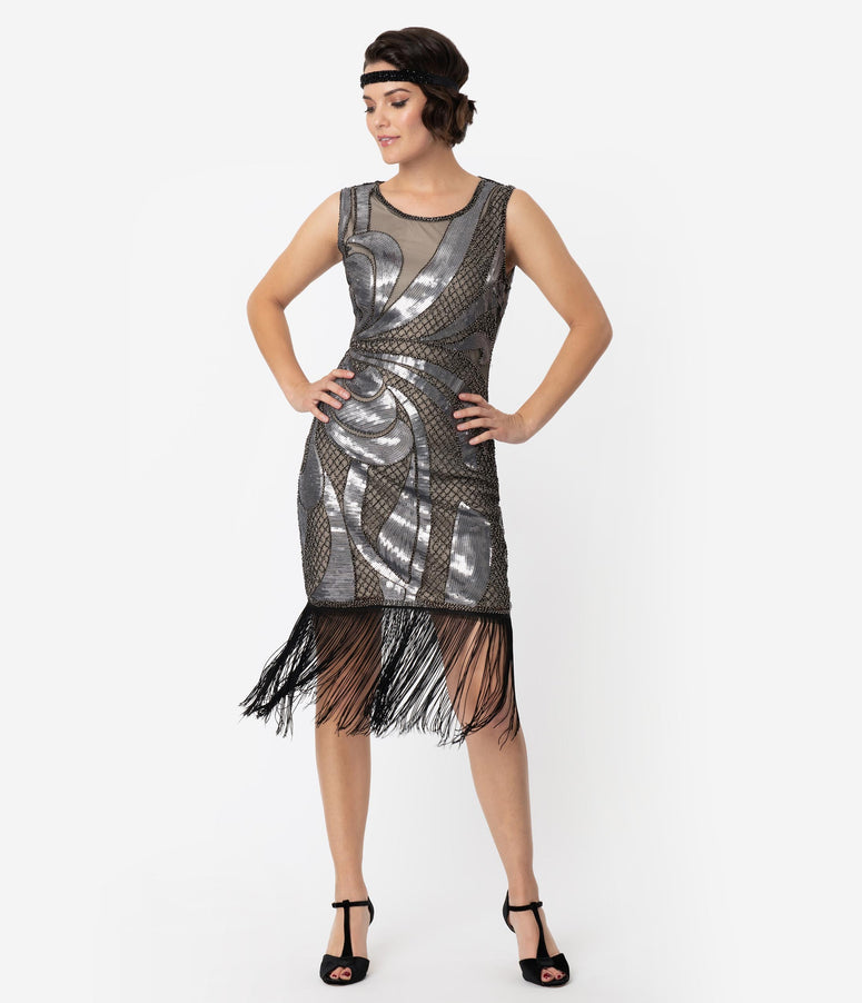 Unique Vintage Beige & Silver Sequin Black Fringe Annecy Flapper Dress