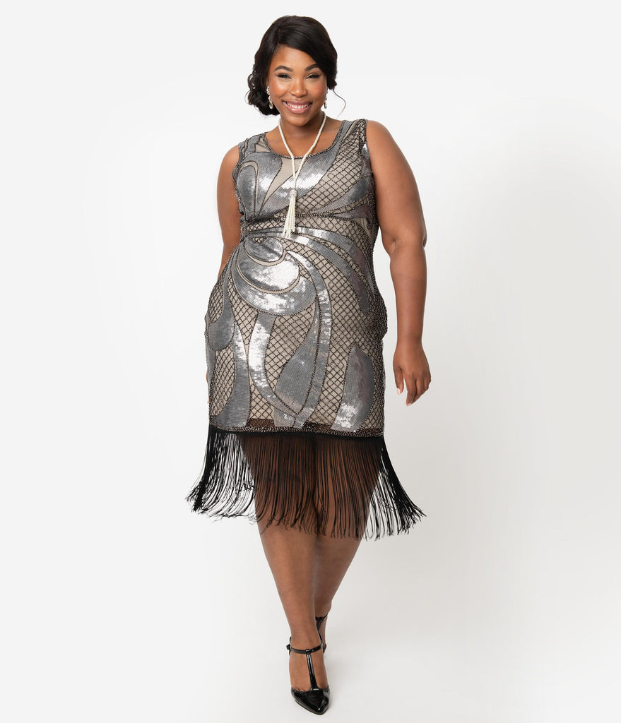 Unique Vintage Plus Size Beige & Silver Sequin Black Fringe Annecy Flapper Dress