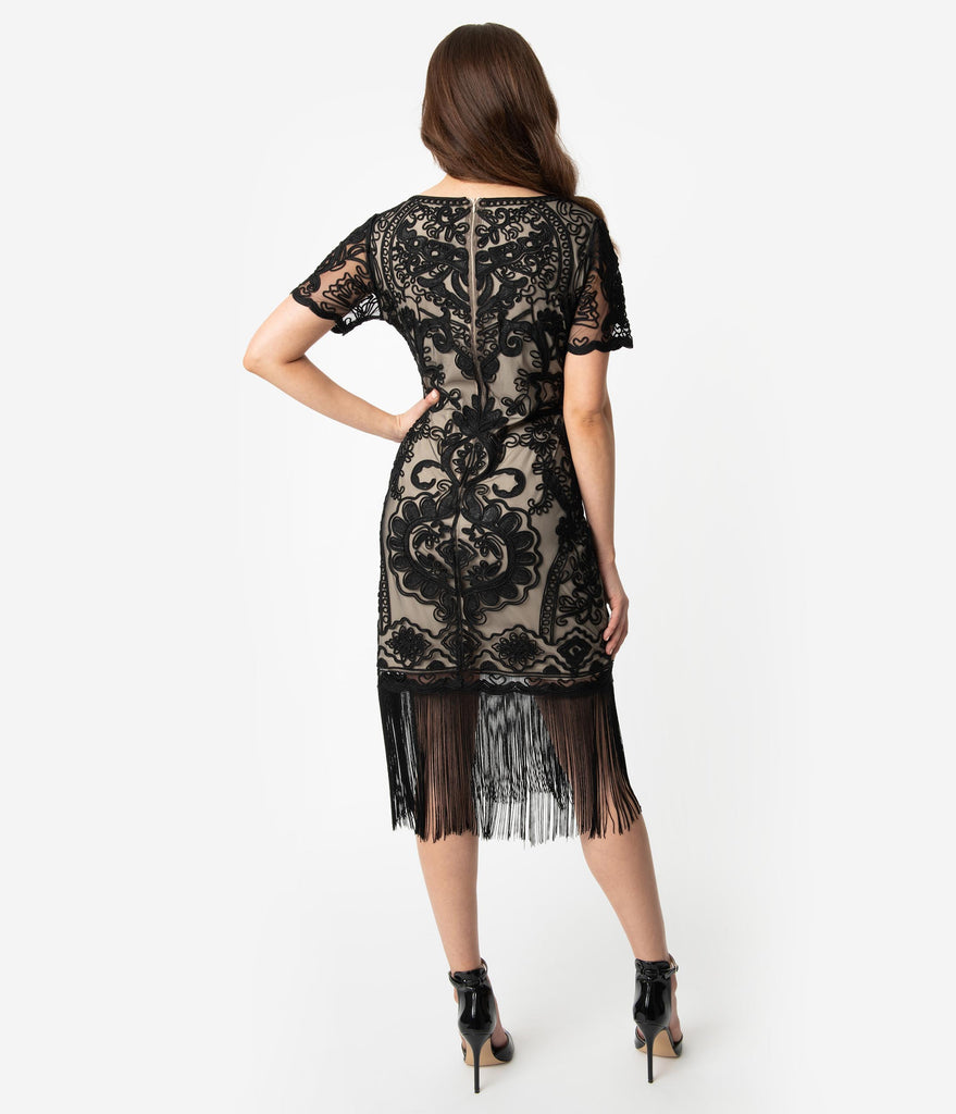 Unique Vintage Beige & Black Embroidered Fringe Cocktail Bourges Flapper Dress