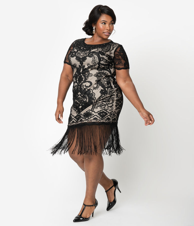 Unique Vintage Plus Size Beige & Black Embroidered Fringe Cocktail Bourges Flapper Dress