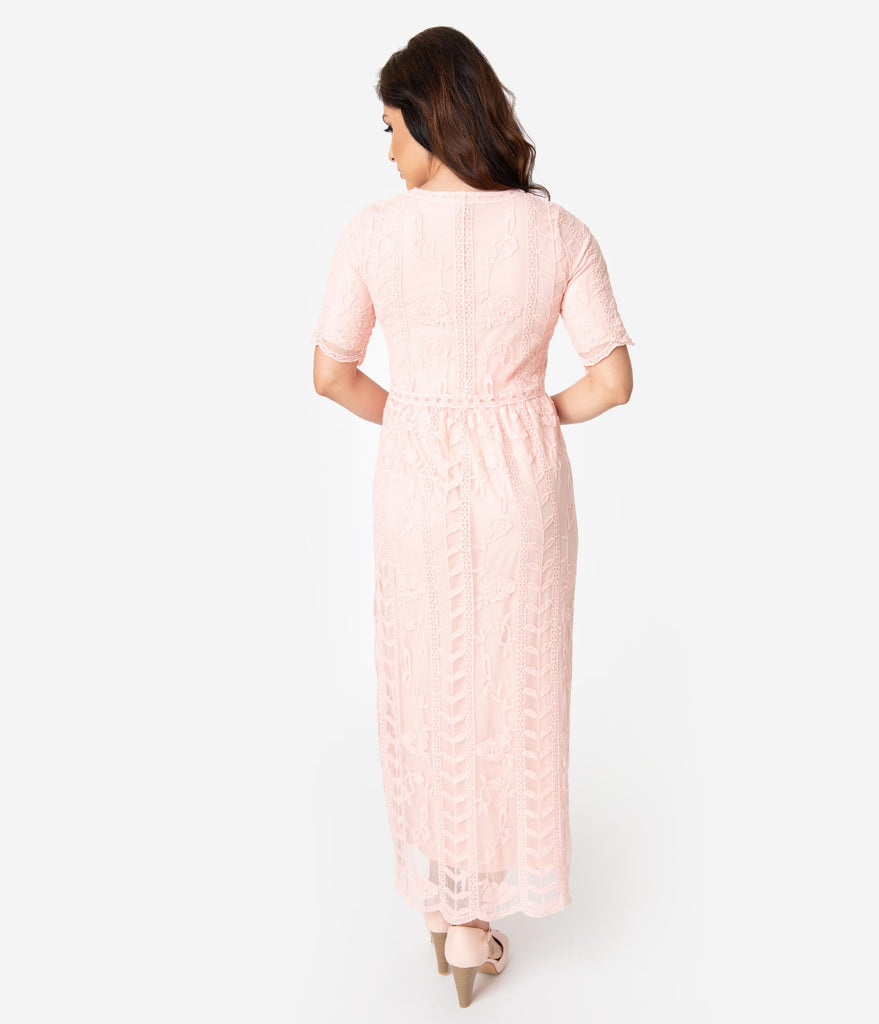 1940s Style Antique Pink Lace Short Sleeved Long Dress
