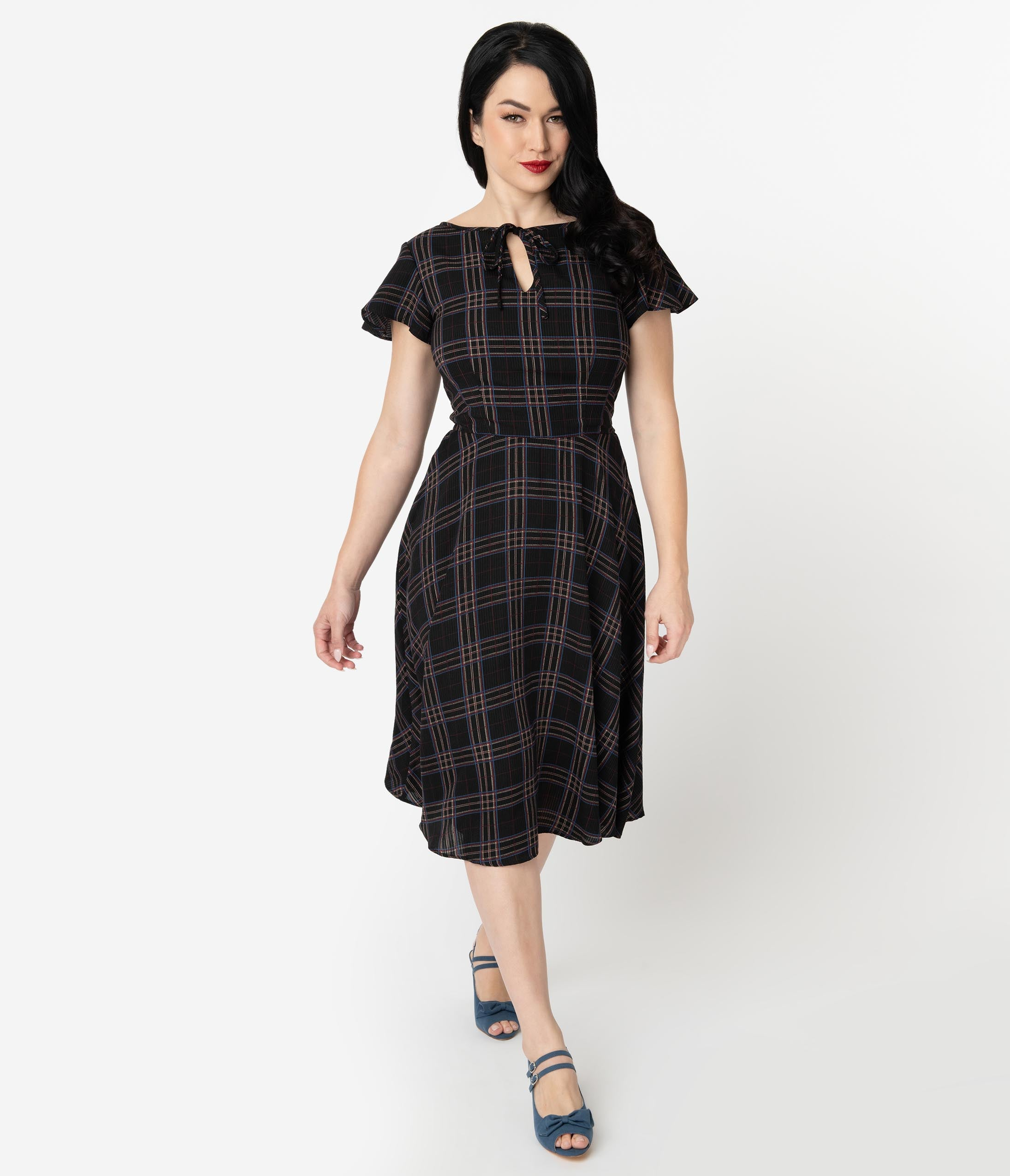 1940s Dresses | 40s Dress, Swing Dress Unique Vintage 1940S Style Black Plaid Formosa Swing Dress $88.00 AT vintagedancer.com