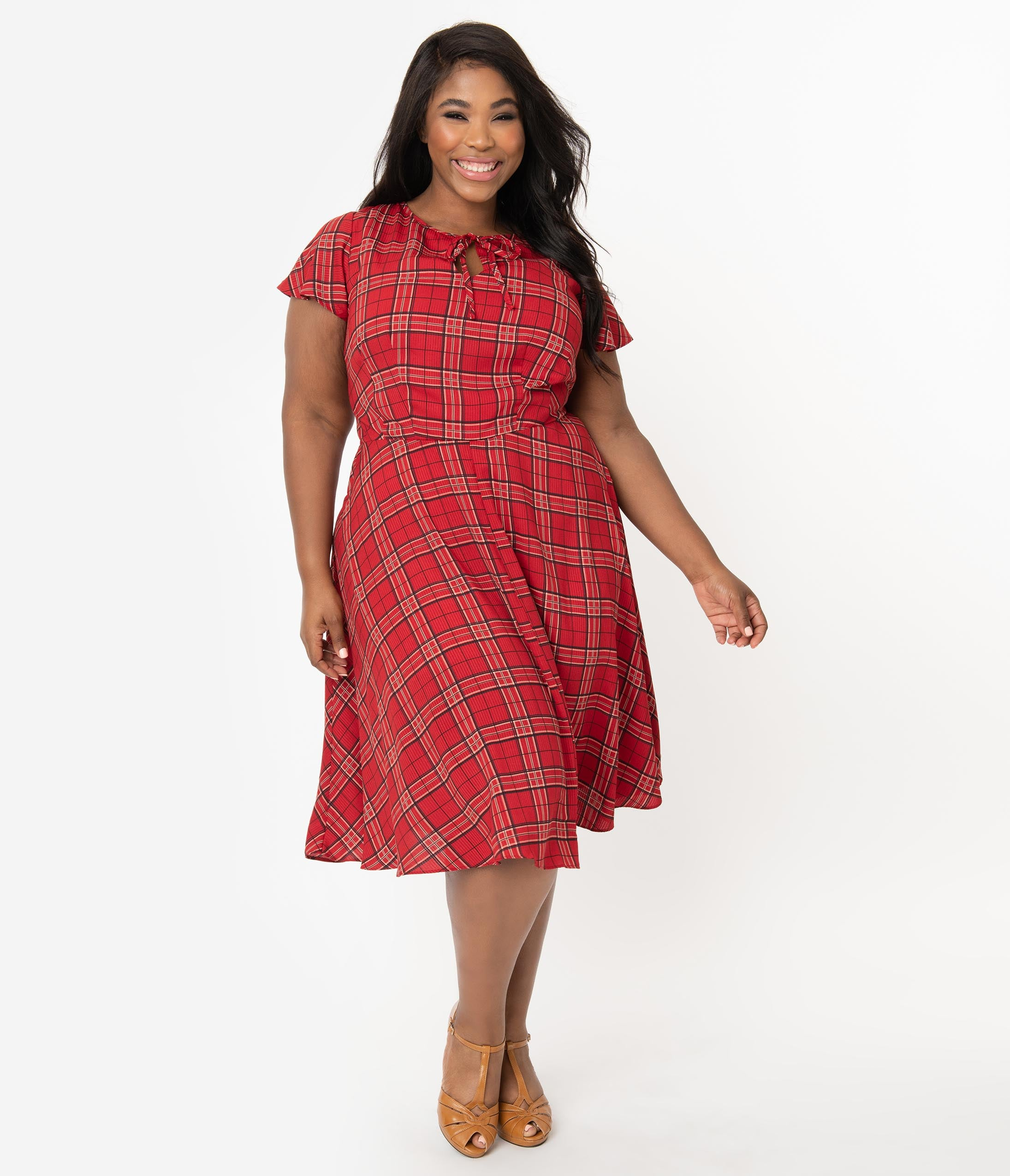 1940s Plus Size Fashion: Style Advice from 1940s to Today Unique Vintage Plus Size 1940S Style Red Plaid Formosa Swing Dress $88.00 AT vintagedancer.com
