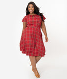 Unique Vintage Plus Size 1940s Style Red Plaid Formosa Swing Dress