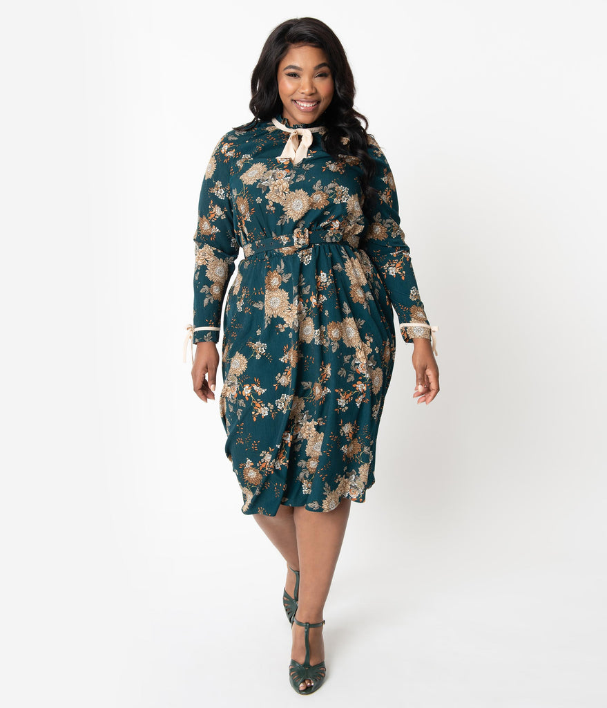 Unique Vintage Plus Size 1950s Teal & Ivory Floral High Neck Vandella Swing Dress