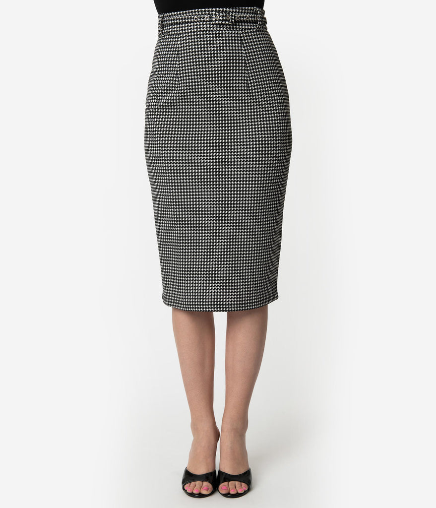 Unique Vintage 1960s Black & White Houndstooth High Waist Marcia Wiggle Skirt