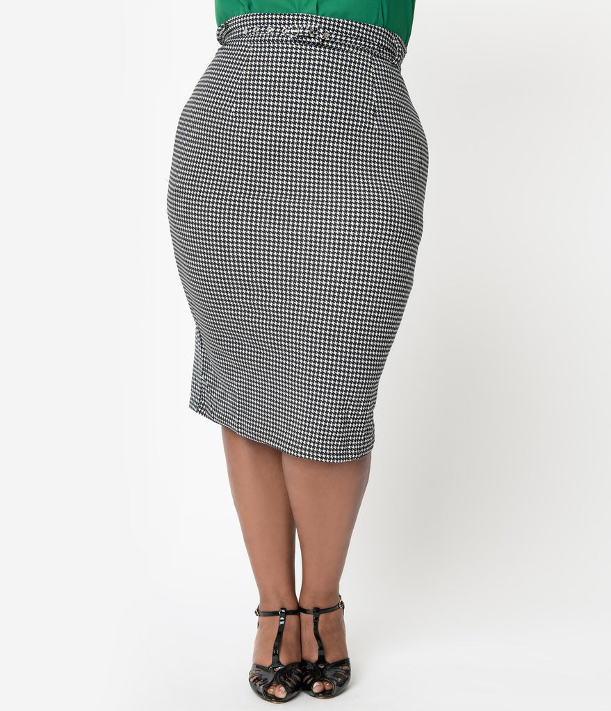 Unique Vintage Plus Size 1960s Black & White Houndstooth High Waist Marcia Wiggle Skirt