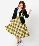 Unique Vintage Plus Size Black & Yellow Plaid High Waist Vivien Swing Skirt