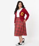 Unique Vintage Plus Size Retro Maroon Red Plaid High Waist Vivien Swing Skirt