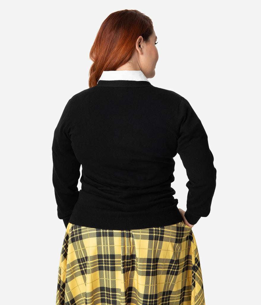 Unique Vintage Plus Size 1950s Black & Yellow Hannah Letterman Cardigan