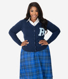 Unique Vintage Plus Size 1950s Navy & Light Blue Myrtle Letterman Cardigan
