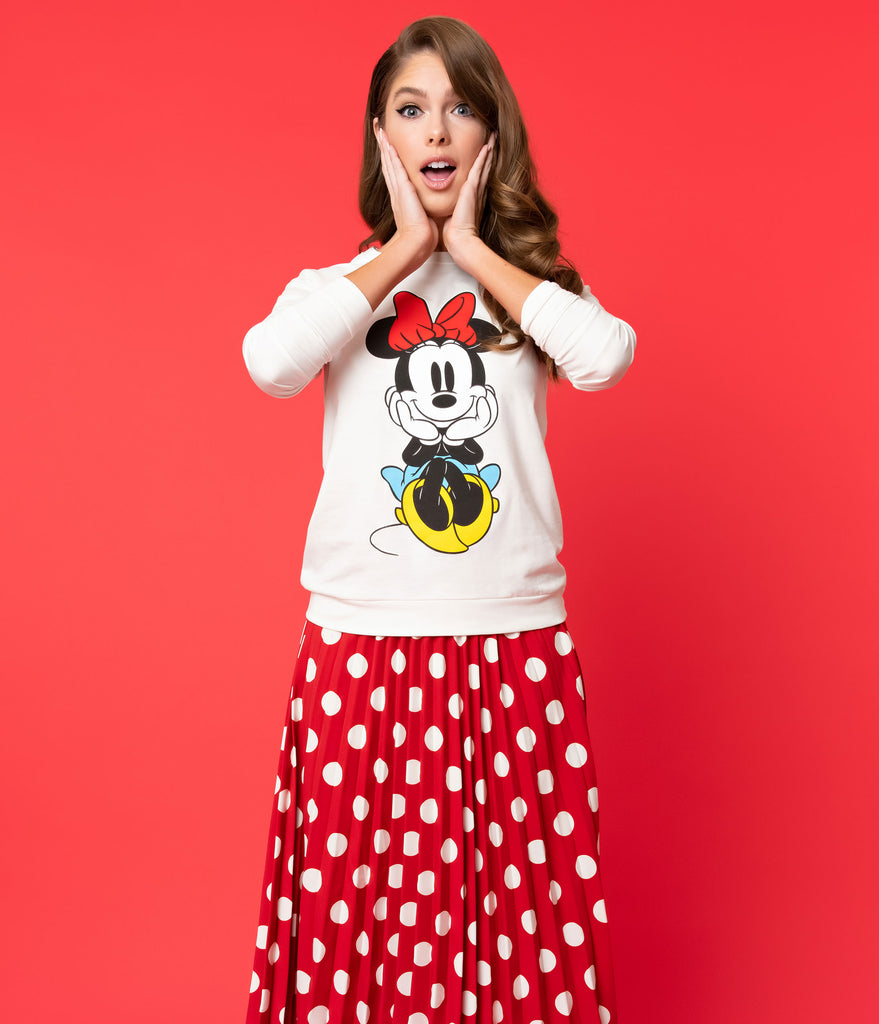 Cream Cotton Minnie Mouse Long Sleeve Disney Sweatshirt