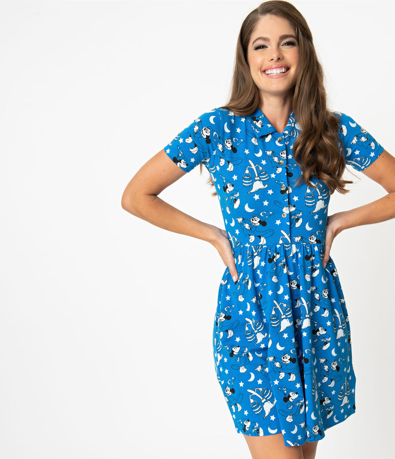Cakeworthy Blue Disney Fantasia Print Cotton Fit & Flare Dress