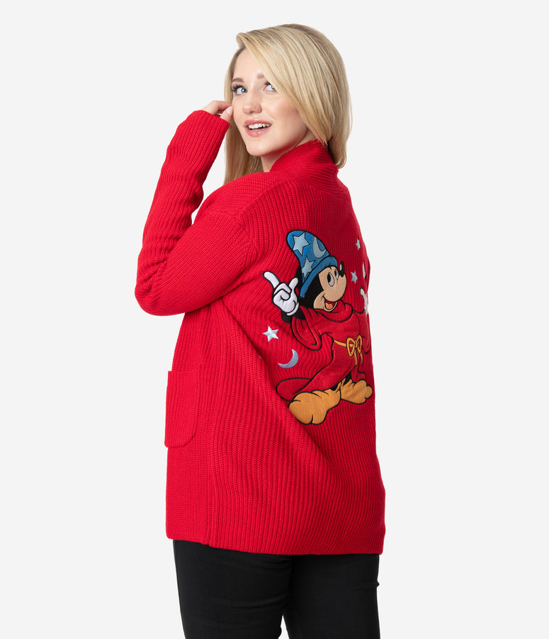 Cakeworthy Red Knit Sorcerer Mickey Mouse Open Cardigan