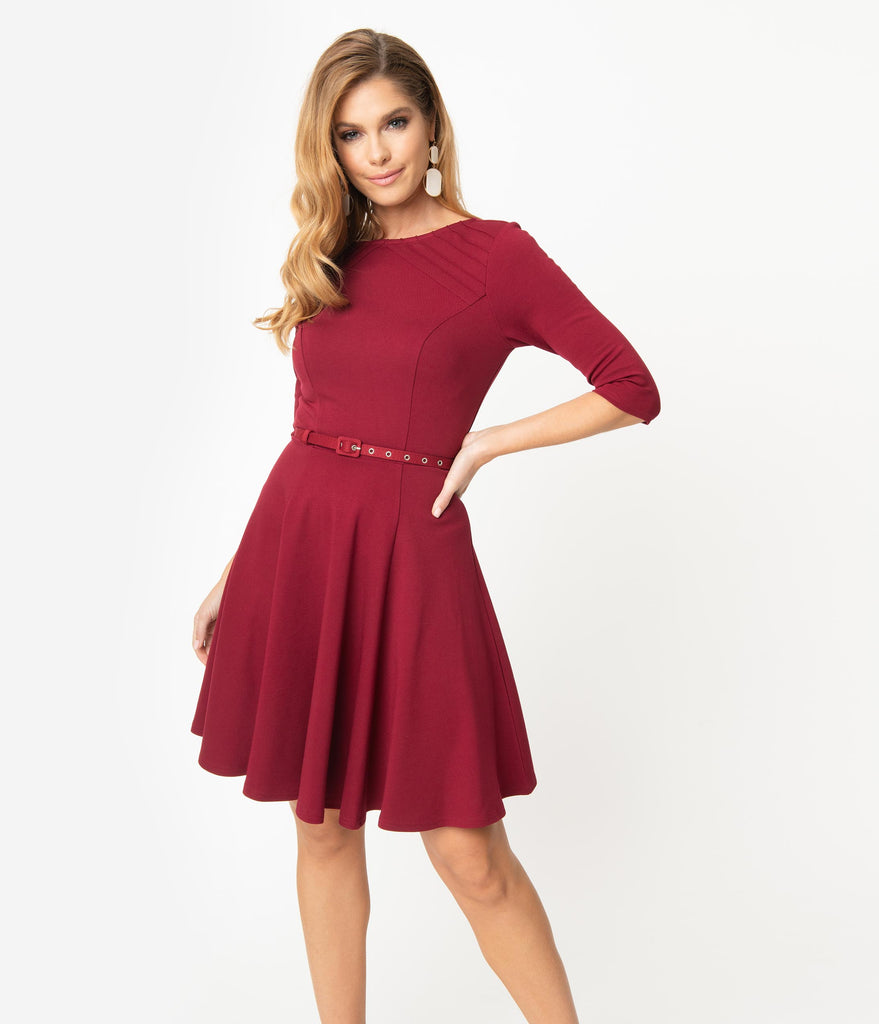 Unique Vintage Merlot Red Stephanie Fit & Flare Dress