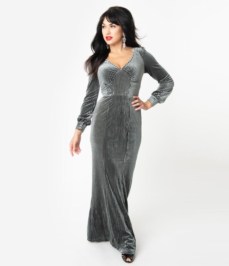 Voodoo Vixen 1930s Charcoal Grey Velvet Long Sleeve Maxi Dress