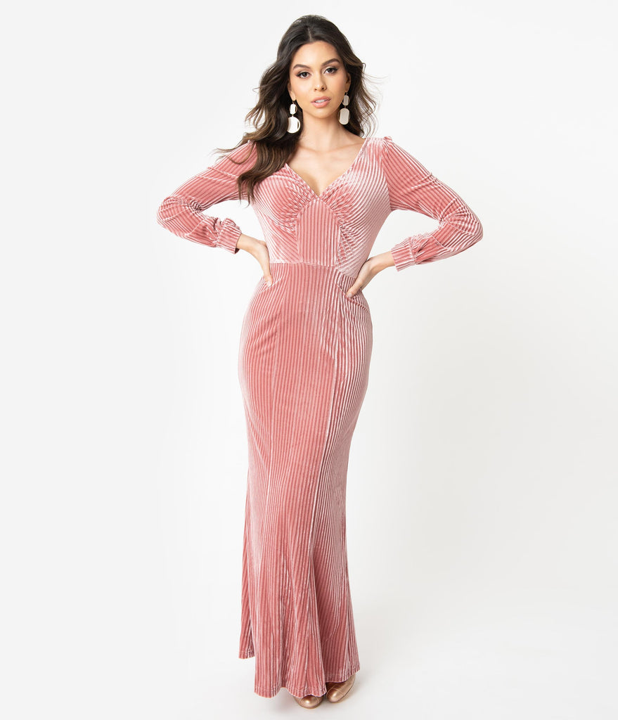 Voodoo Vixen 1930s Blush Pink Velvet Long Sleeve Maxi Dress