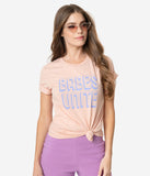 Peach Pink Babes Unite Short Sleeve Cotton Unisex Tee