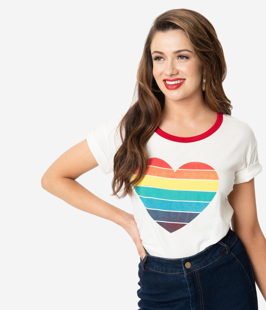 Retro Style Ivory & Rainbow Heart Graphic Cotton Unisex Tee