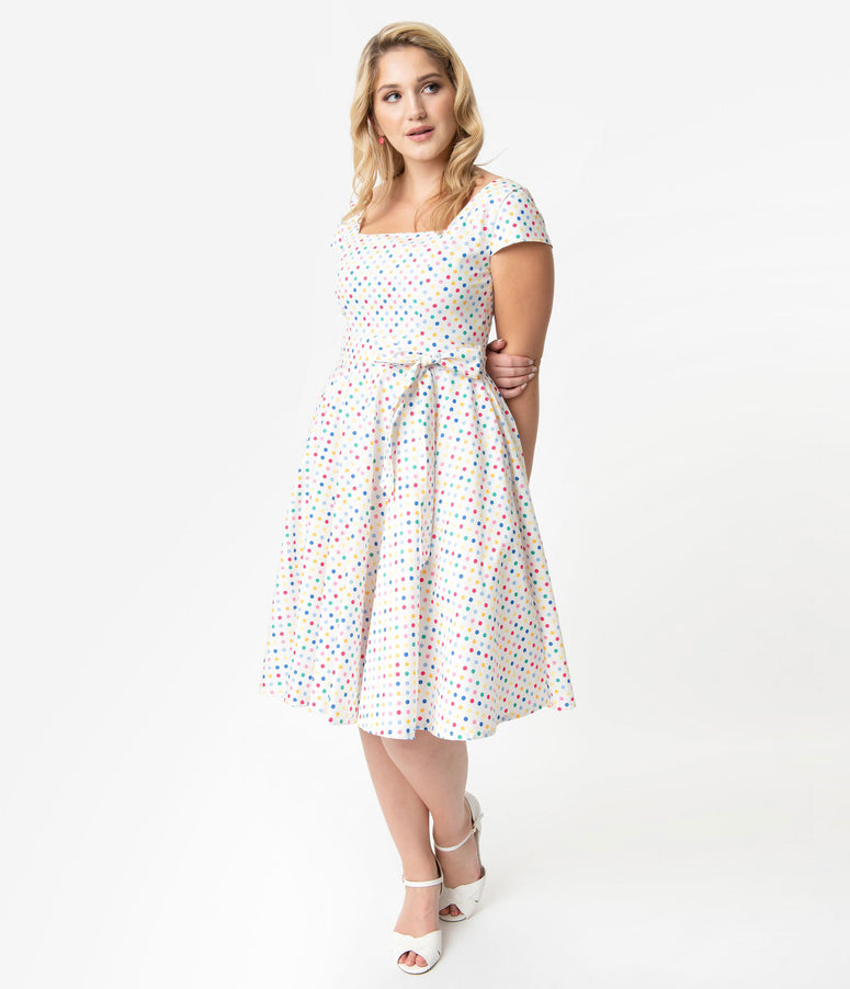 Plus Size Retro Style White & Rainbow Polka Dot Print Anna Cap Sleeve Swing Dress