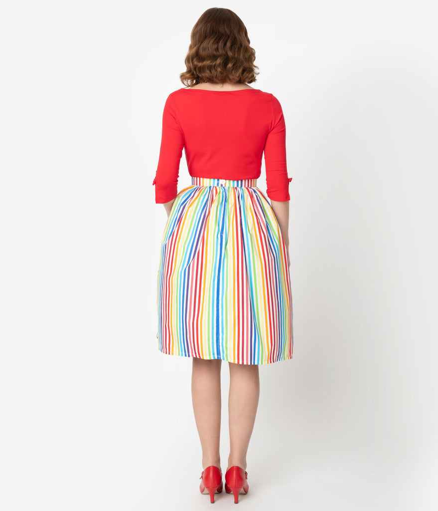 1950s Style Rainbow Striped Cotton Gathered Swing Skirt