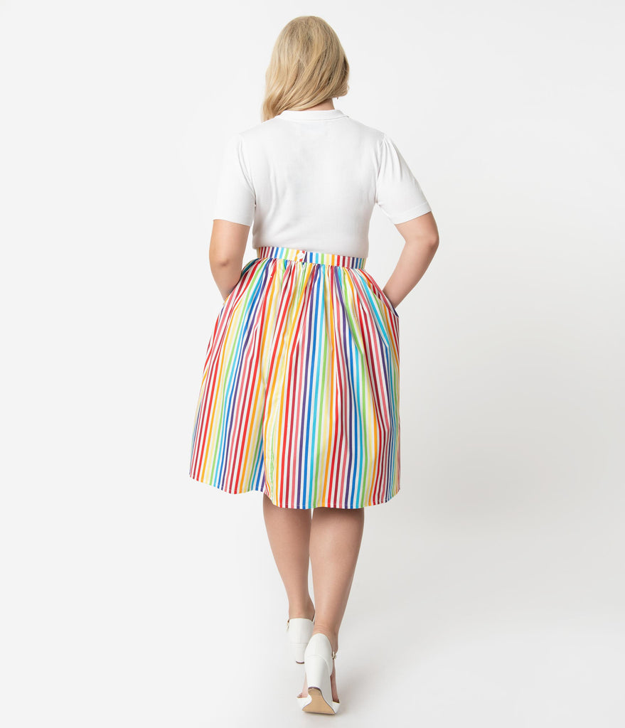 Plus Size 1950s Style Rainbow Striped Cotton Gathered Swing Skirt