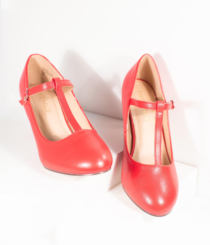 Vintage Style Red Leatherette T-Strap Heels