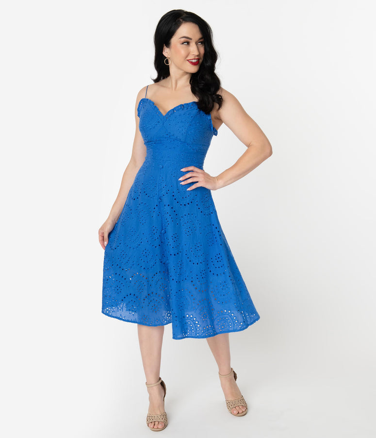1950s Style Royal Blue Cotton Eyelet Midi Dress