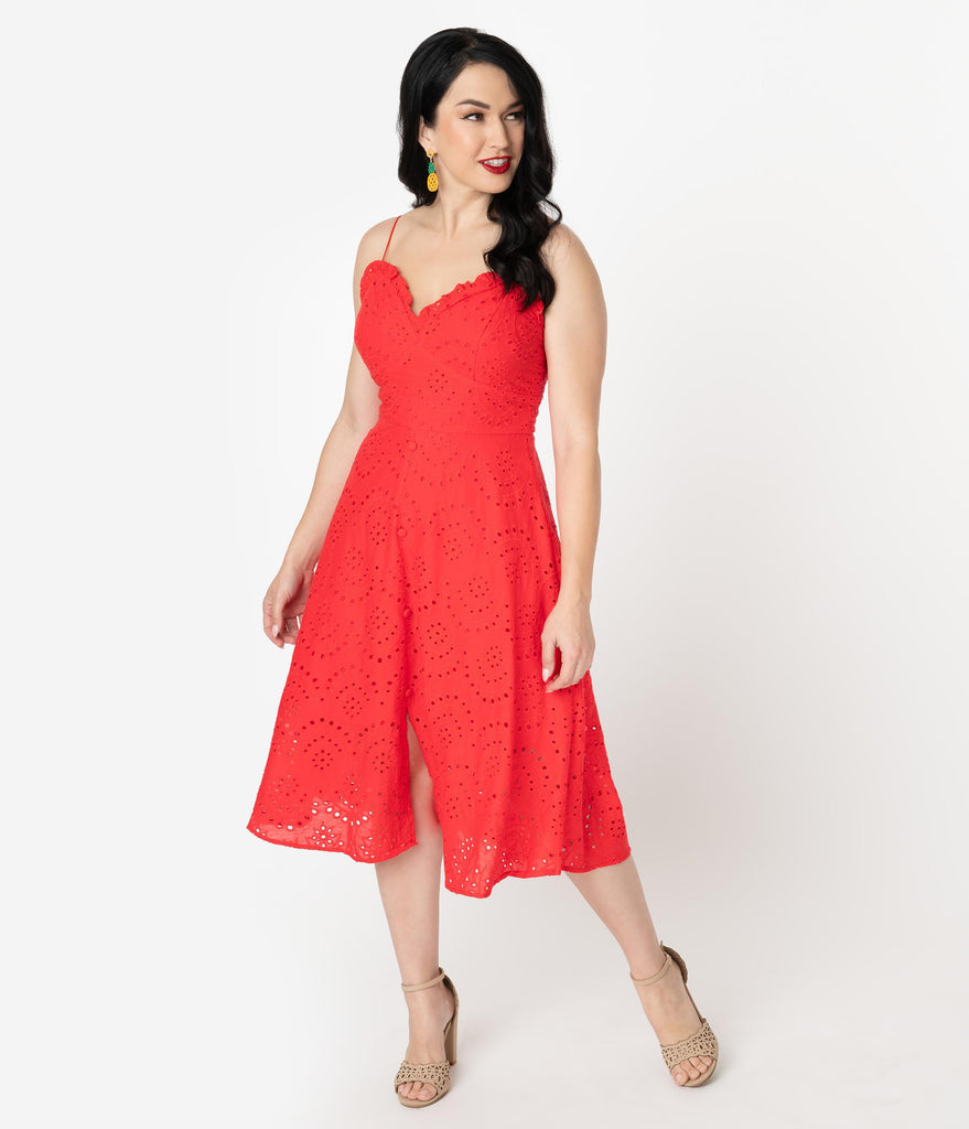1950s Style Retro Red Cotton Eyelet Midi Dress