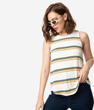 Retro Style Cream & Multi Stripe Sleeveless Knit Top
