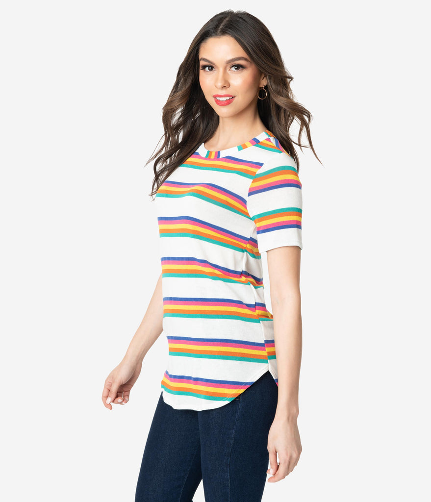 Retro Style Multicolor Stripe Short Sleeve Knit Tunic Top