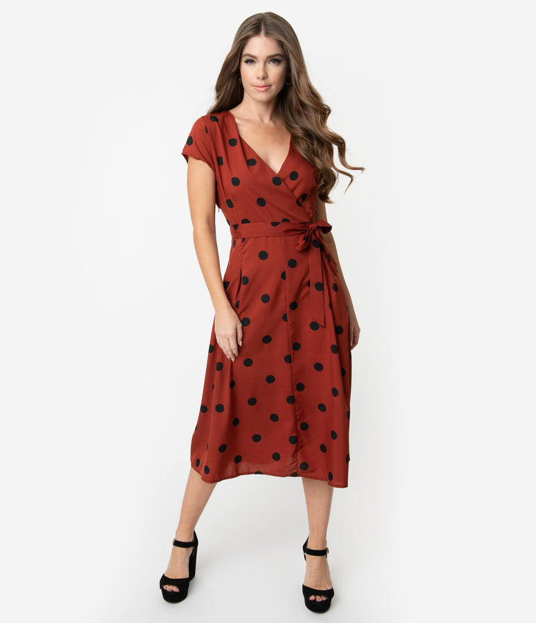 06fbfff347b 1950s Style Rust Red   Black Polka Dot Cap Sleeve Swing Dress
