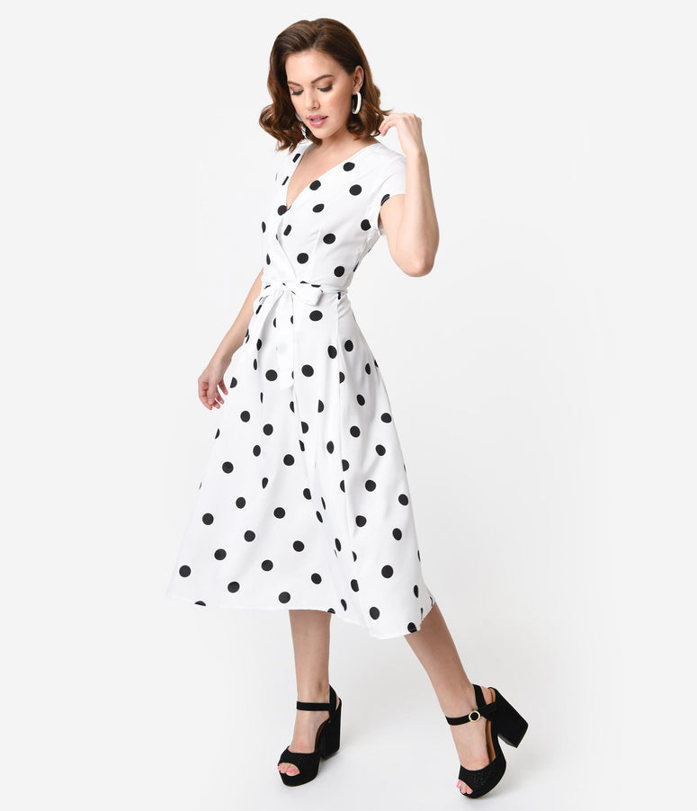 1950s Style White & Black Polka Dot Cap Sleeve Swing Dress