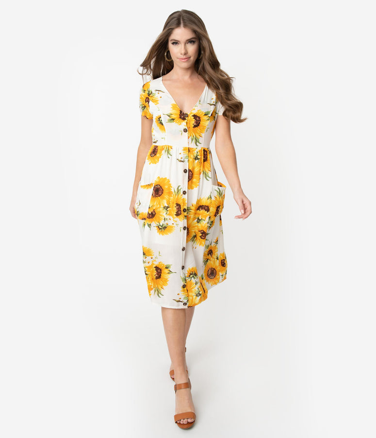 0d1ecee41582 1950s Style White   Yellow Sunflower Print Button Midi Dress