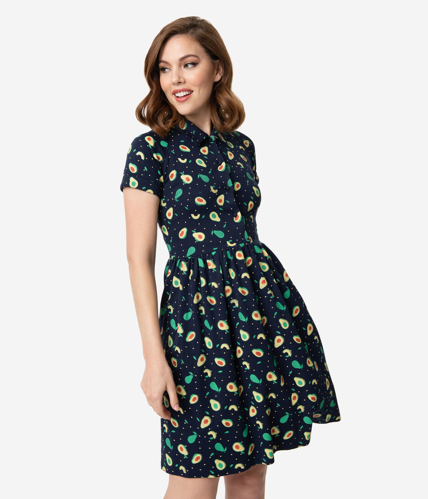 Unique Vintage Navy Avocado Print Fit & Flare Dress
