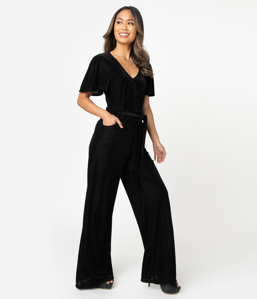 Unique Vintage 1970s Black Velvet Corduroy Heddy Jumpsuit