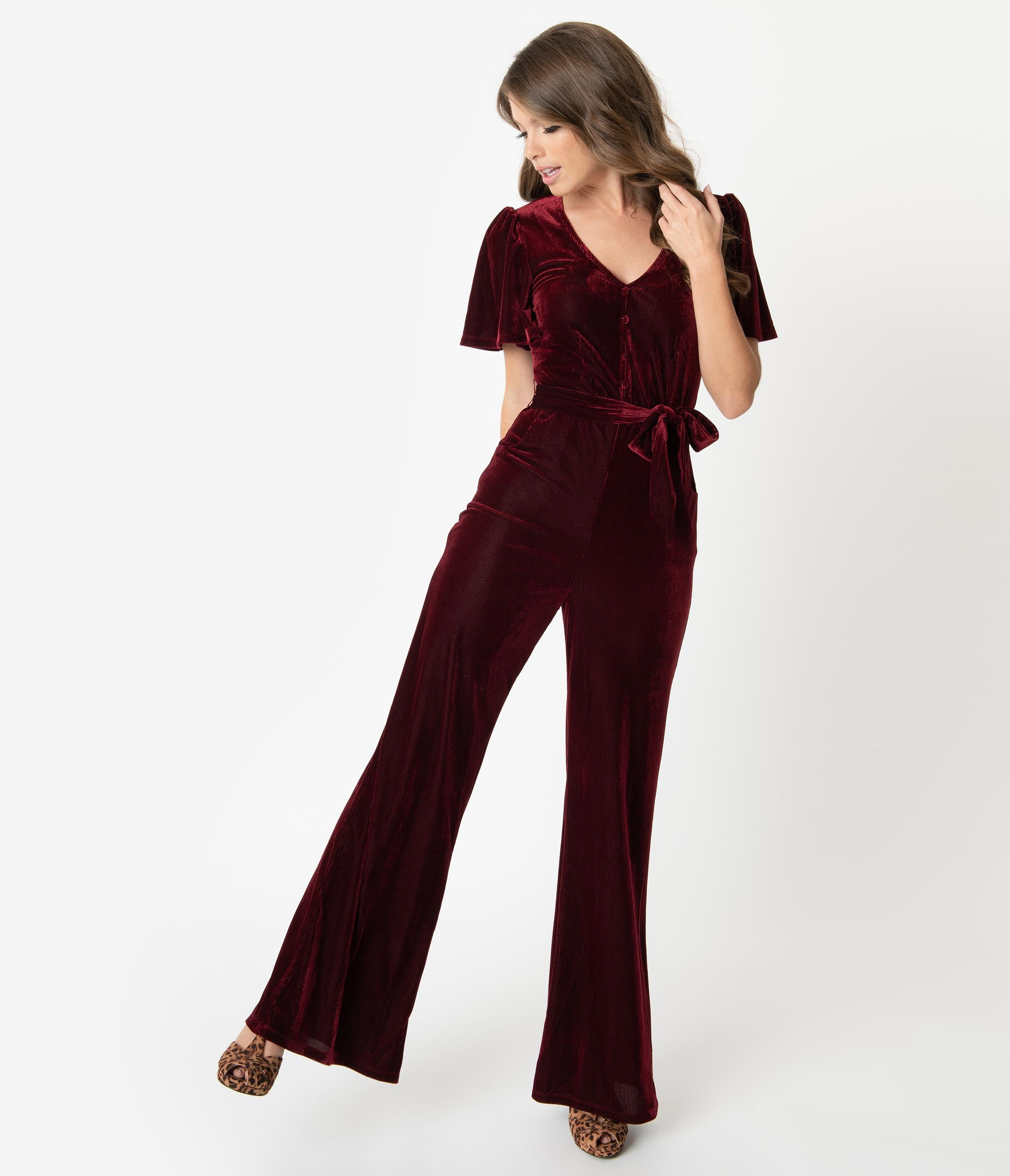 1950s Pants History for Women Unique Vintage 1970S Merlot Velvet Corduroy Heddy Jumpsuit $98.00 AT vintagedancer.com