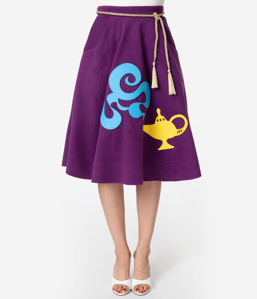 Unique Vintage 1950s Purple Magic Carpet Soda Shop Swing Skirt