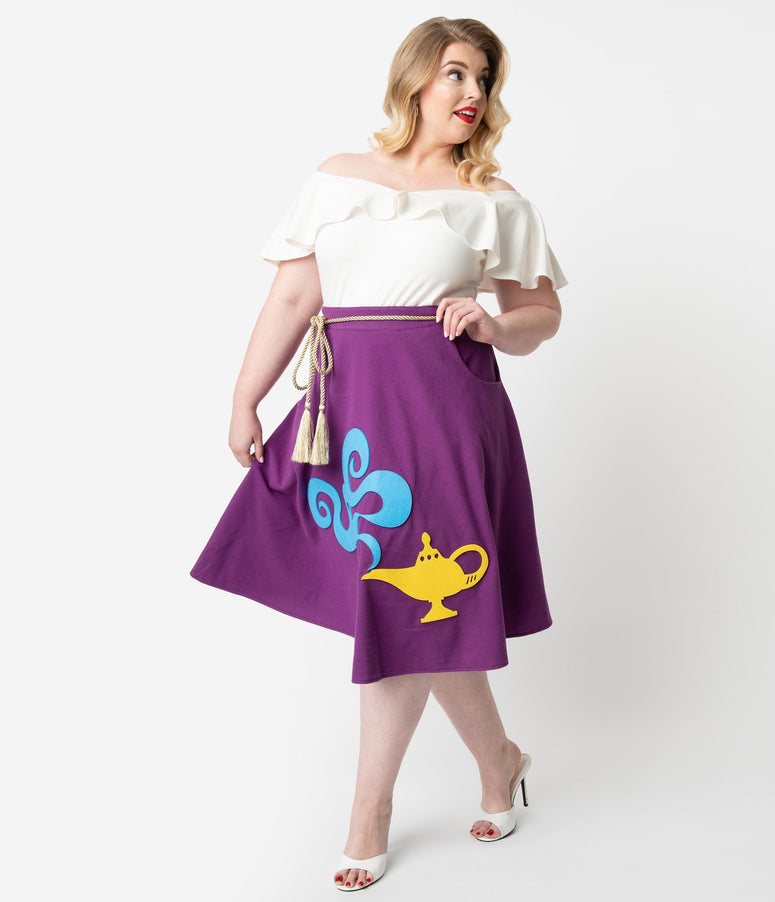 Unique Vintage Plus Size 1950s Purple Magic Carpet Soda Shop Swing Skirt